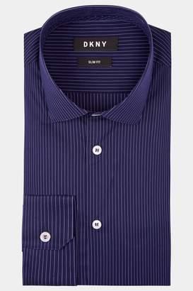 DKNY Slim Fit Navy Single Cuff Stripe Stretch Shirt