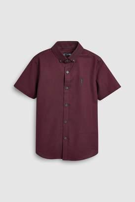 Next Boys Plum Short Sleeve Oxford Shirt (3-16yrs) - Purple