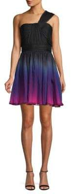 Halston One-Shoulder Shirred Chiffon Ombre Mini Dress