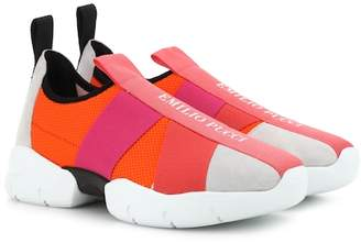 Emilio Pucci Suede-trimmed sneakers