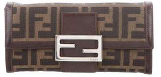 Fendi Leather-Trimmed Zucca Wallet brown Leather-Trimmed Zucca Wallet