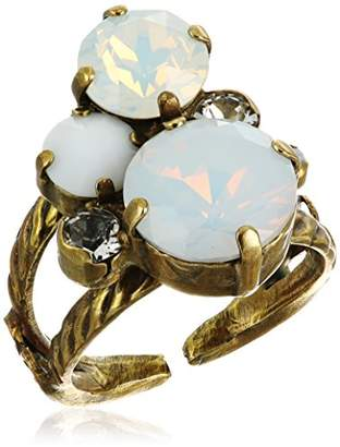 Sorrelli Pearl Luster Crystal Assorted Rounds Ring