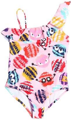 Fendi Pompom Print Lycra One Piece Swimsuit