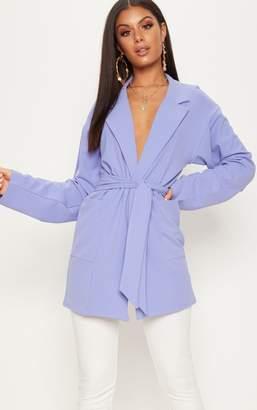 PrettyLittleThing Blue Oversized Belted Blazer