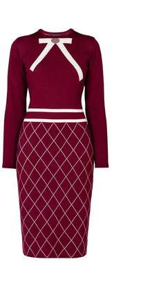 Mulberry Rumour London - Chloe Bow Jacquard Knitted Dress in