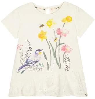 Mantaray Girls' Ivory Sequinned T-Shirt