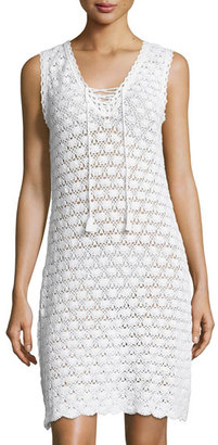 Letarte Sleeveless Crochet Lace-Up Dress, White $278 thestylecure.com