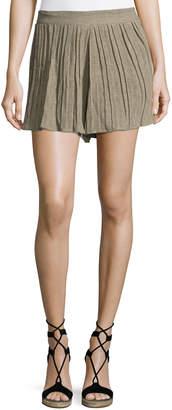 Amadi Mia Pleated Linen Shorts, Khaki