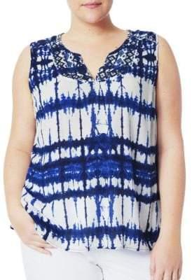 NYDJ Plus Moorea Sleeveless Embroidered Blouse