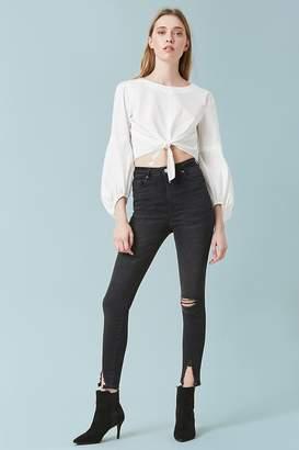 Forever 21 Sculpted High-Rise Split-Hem Skinny Jeans