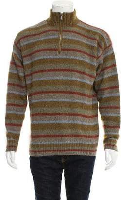 Loro Piana Striped Cashmere Zip-Up Sweater