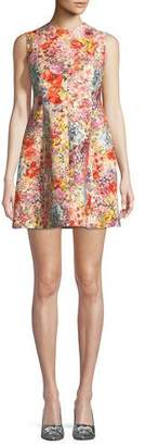 Valentino Sleeveless Crepe Fit-and-Flare Floral-Print Dress