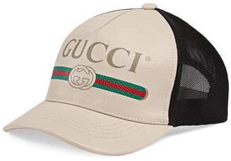 Gucci Men's Vintage Logo-Print Baseball Cap, White/Black
