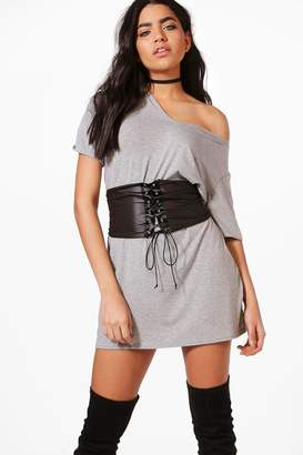 boohoo Elyse Corset Belt 2 in 1 V Neck T-Shirt Dress
