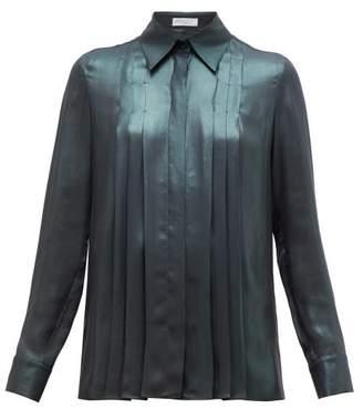 Gabriela Hearst Pierre Pleated Silk Lame Shirt - Womens - Green