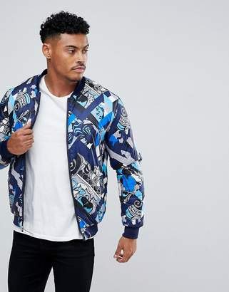 Versace Padded Reversible Bomber Jacket With Print