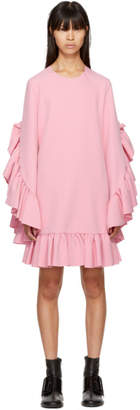 MSGM Pink Long Sleeve Ruffle Dress