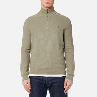 Men's Half Zip Pima Knitted Jumper Sage Green Heather