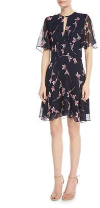aaa8a60efbfc ... Shoshanna Masha Floral Chiffon Flutter-Sleeve Dress