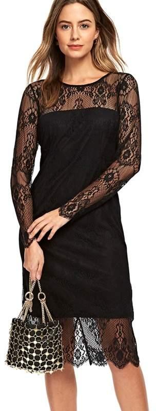 Petite Black Lace Midi Dress