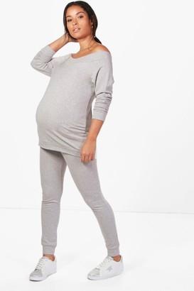 boohoo Maternity Bardot Top & Lounge Set