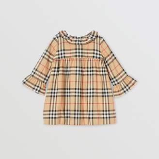 Burberry Childrens Long-sleeve Vintage Check Cotton Flannel Dress