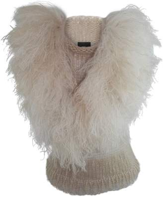 Claire Andrew - Fringed Mane Knit Vest - Cream & Pale Gold