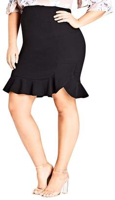 City Chic Pencil Flute Skirt