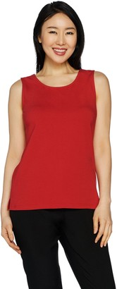 Joan Rivers Classics Collection Joan Rivers Wardrobe Builders Scoop Neck Cotton Stretch Tank
