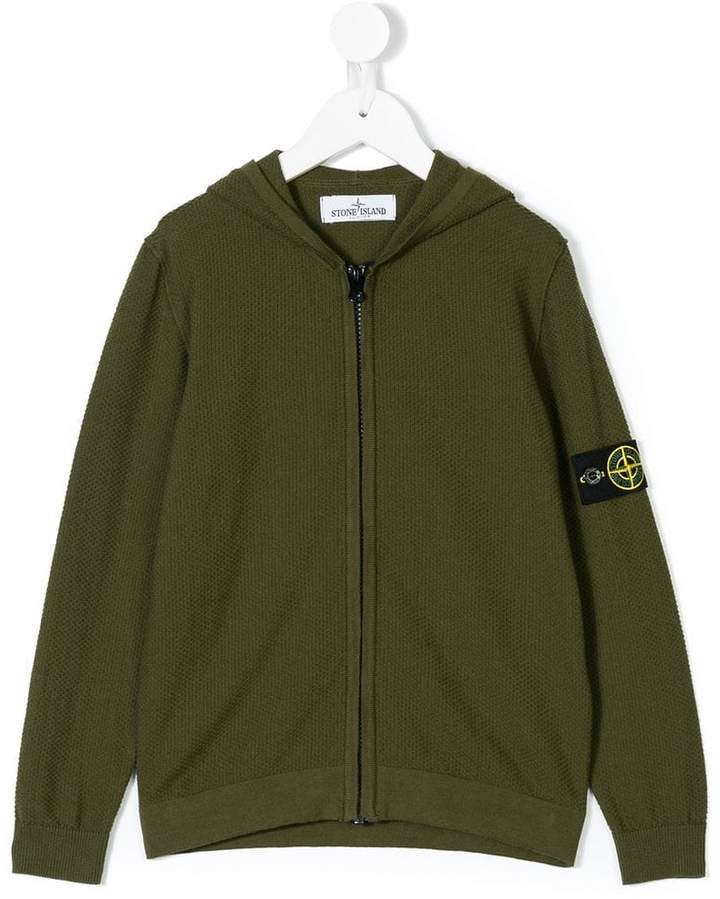 Stone Island Junior knitted zip-up hoodie
