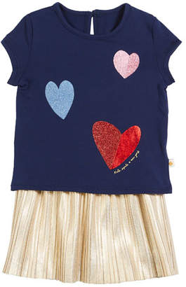 Kate Spade Tossed Hearts T-Shirt W/ Metallic Skirt Set, Size 12-24 Months