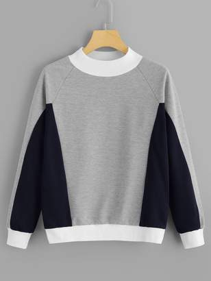 1279a853fa Shein Cut And Sew Panel Raglan Sleeve Sweatshirt