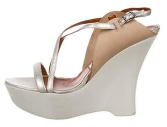Lanvin Leather Platform Wedges Silver Leather Platform Wedges