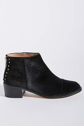 Anthropologie Rounded-Toe Velvet Ankle Boots