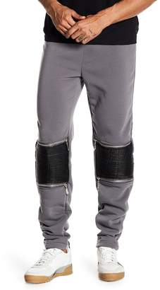 TR Premium Fleece Faux Leather Ribbed Knee Moto Joggers
