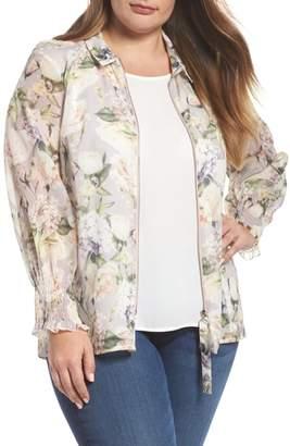 ELVI The Talinum Floral Zip Shirt
