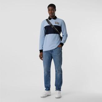 Burberry Long-sleeve Logo Graphic Cotton Piqué Polo Shirt