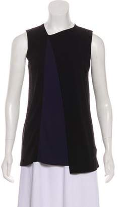Balenciaga Asymmetrical Neck Sleeveless Top Black Asymmetrical Neck Sleeveless Top