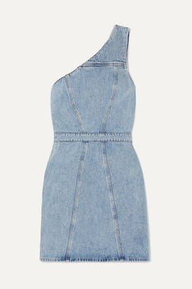 A Gold E AGOLDE - Annex One-shoulder Denim Mini Dress - Light denim
