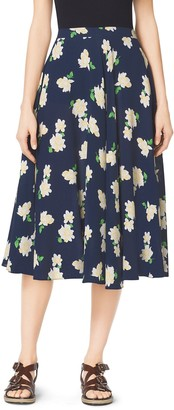 Michael Kors Camellia-Print Silk-Georgette Circle Skirt