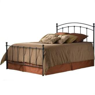 Leggett & Platt Sanford Complete Bed with Metal Panels and Round Finial Posts, Matte Black Finish, Twin