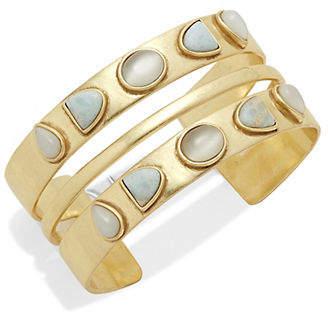Lucky Brand Stone Gold Double Cuff Bracelet