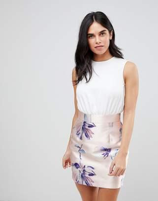 AX Paris Dress With Contrast Floral Skirt