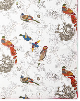 """Handprint Bird & Floral Tablecloth, 60""""Sq."""