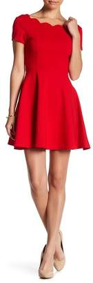 Love...Ady Cap Sleeve Scallop Trim Fit & Flare Dress