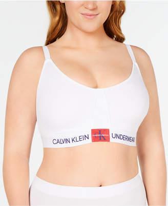Calvin Klein Women's Plus Size Monogram Triangle Bralette QF5353