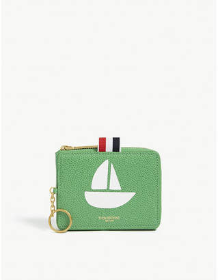 Thom Browne Sailboat print leather coin purse