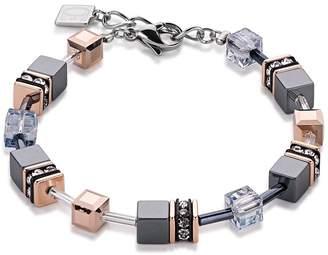 Coeur de Lion Geo Cube Dream Lands Rose Gold Plated & Black Bracelet 4015/30/0730
