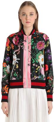 Gucci Floral Printed Silk Twill Bomber Jacket