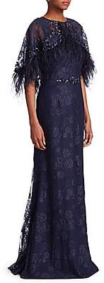 Teri Jon by Rickie Freeman Women's Popover Feather Mermaid Gown